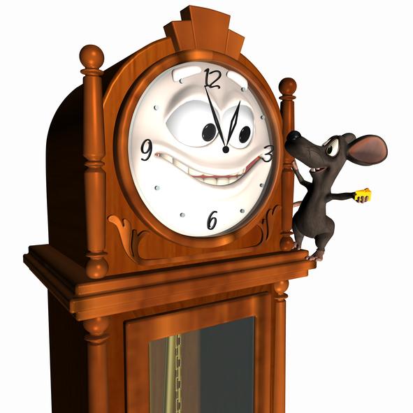 Ratón subiéndose a un reloj