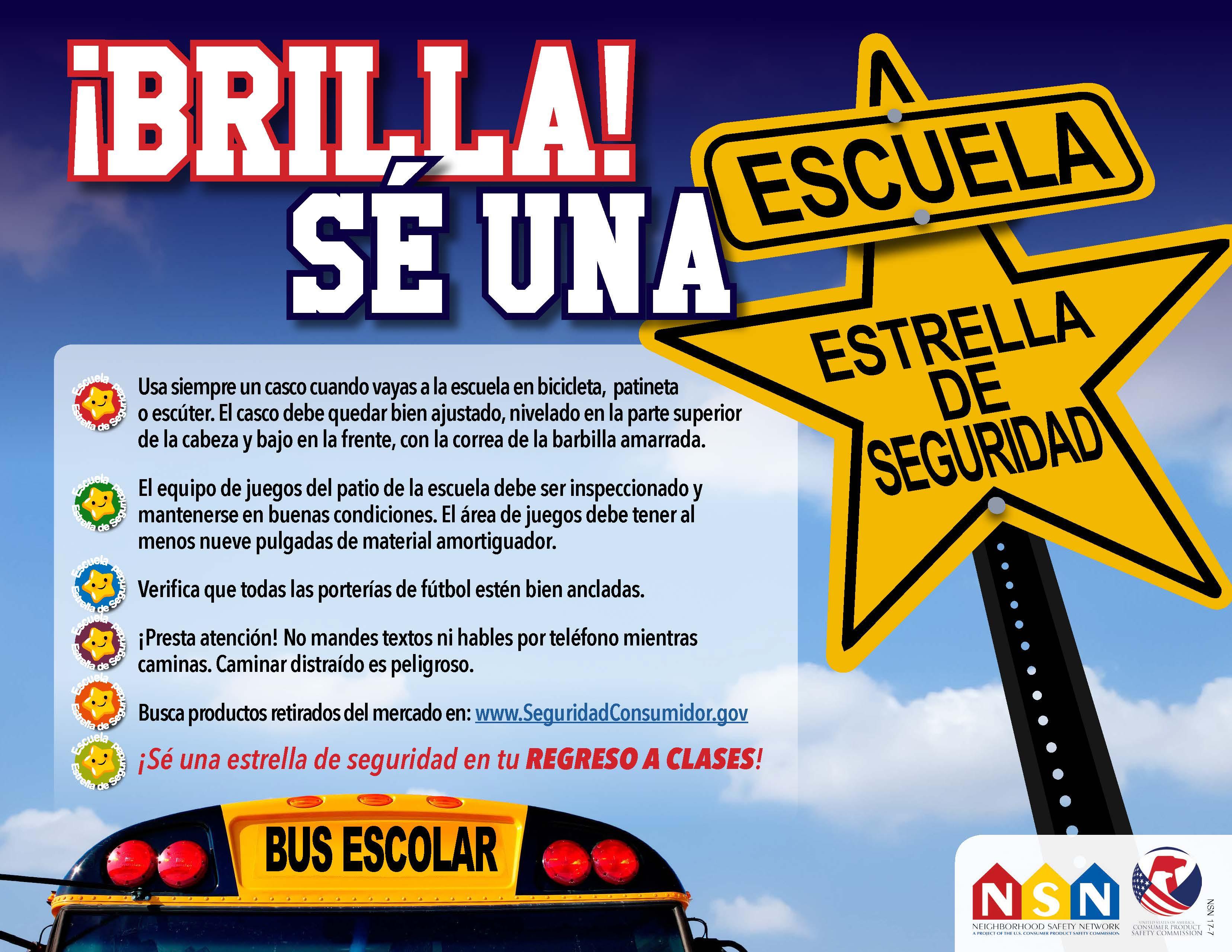 Nuevo afiche de la Red para la Seguridad de la Comunidad con consejos para ser ¡una estrella de seguridad escolar!