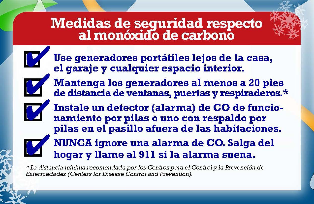 Medidas de seguridad respecto al monóxido de carbono