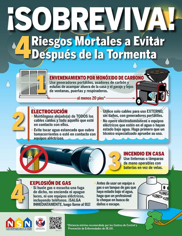 Afiche que muestra los cuatro riesgos mortales a evitar después de una tormenta