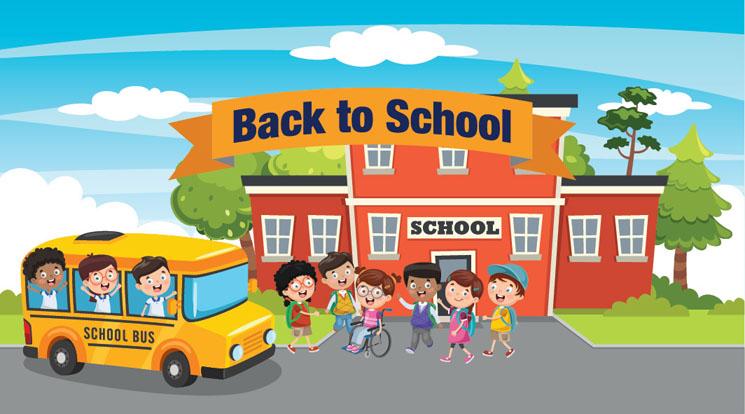 Niños afuera de la escuela y autobús escolar