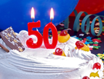 birthday cake with 50 candle