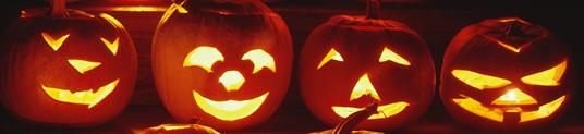 Lit Smiling Halloween pumpkins