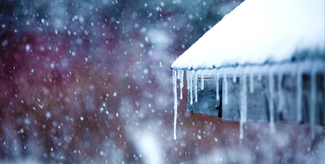 Icicle on roof and snow