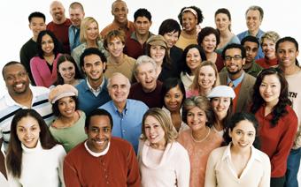 Multi-ethnic crowd of people