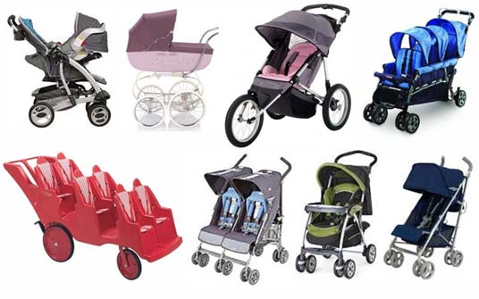 Different types of strollers including jogging strollers, double strollers, travel systems, single strollers, umbrella strollers, prams and wagon strollers.