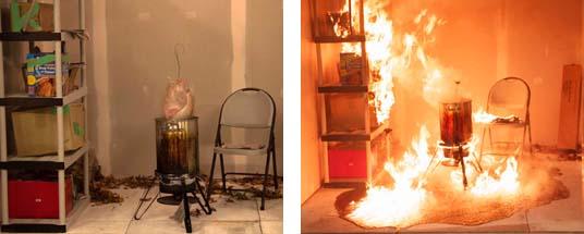 Una freidora para pavos antes de sumergir el pavo a la freidora y el incendio después