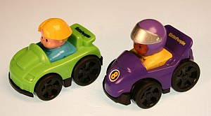 Wheels detach from these green and purple Little People vehicles