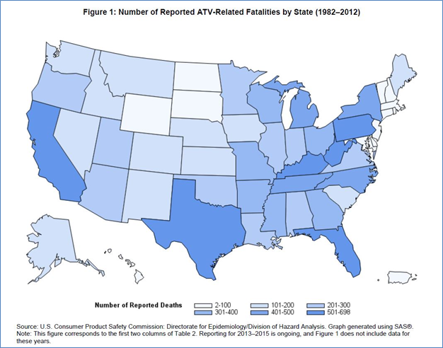 Number of reported ATV-related fatalities by state (1982-2012)