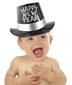 Smiling baby with Happy New year hat