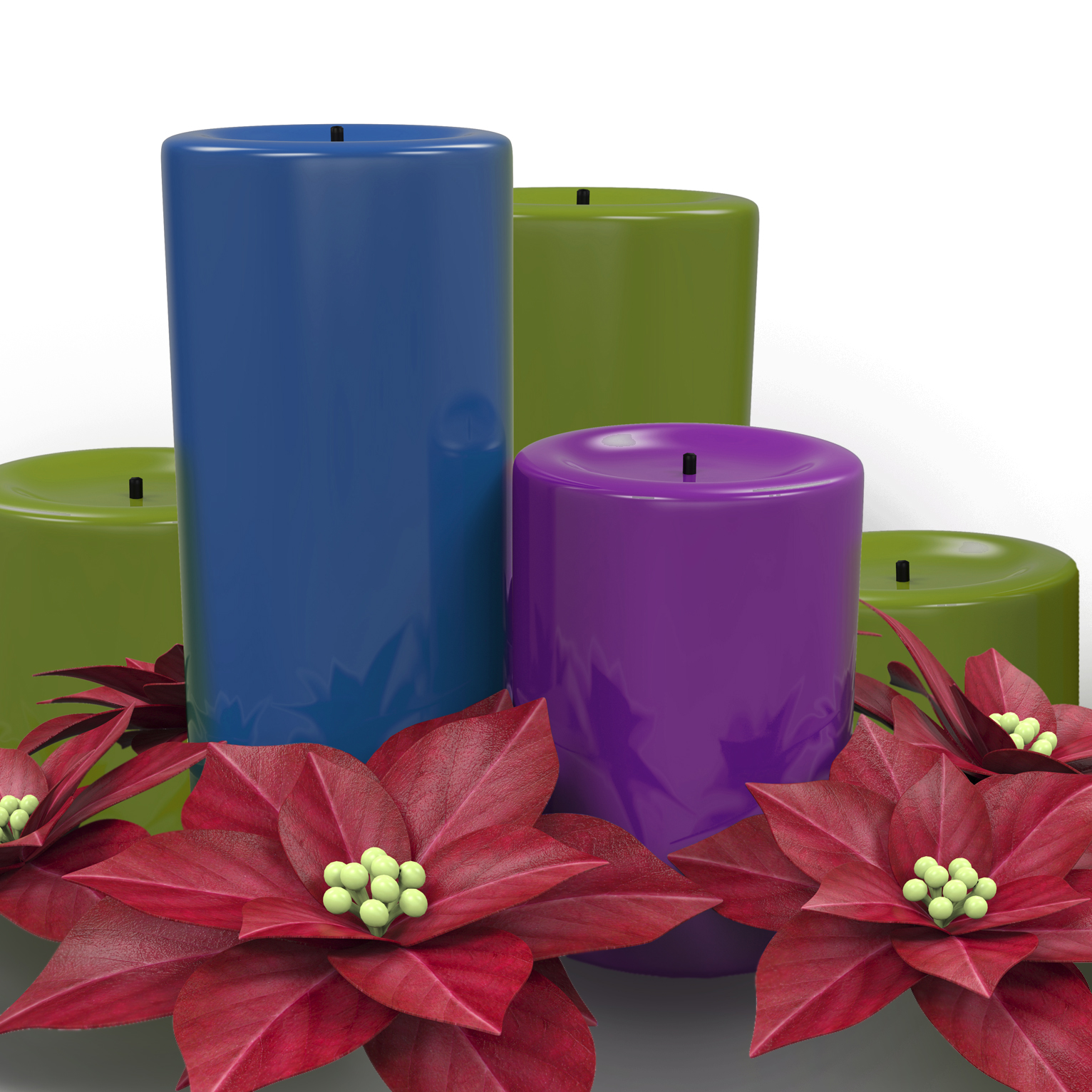Holiday candle with poinsettia