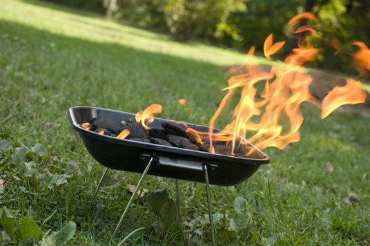 Charcoal grill with flames
