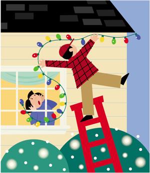 Hombre cayéndose de una escalera al colgar decoraciones en una casa