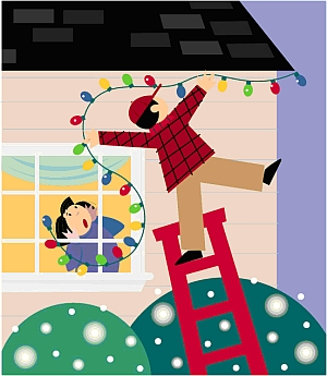 Man falling from ladder hanging decorations on a house