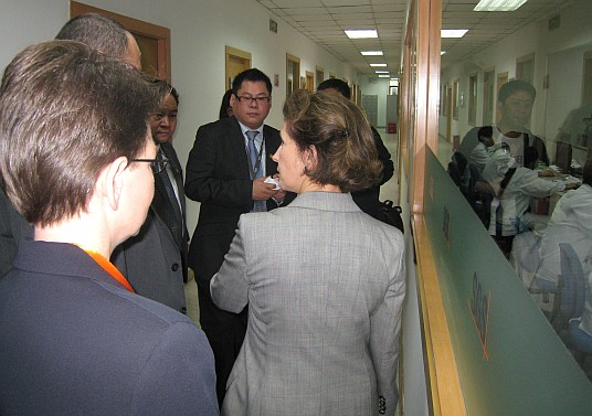 Chairman Tenenbaum and CPSC staff tour a commercial testing facility in Shanghai, China, on Monday.